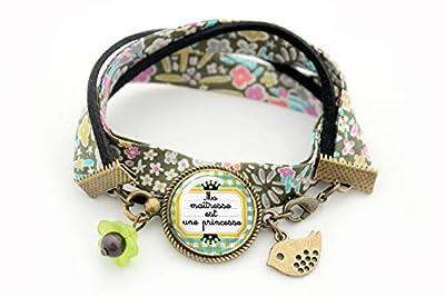 Bracelet liberty Cadeau pour la maitresse école - Ma maitresse est une princesse verre jaune vert noir étoiles crayon