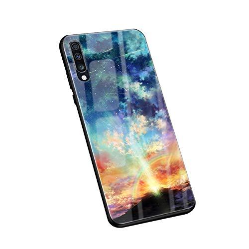 Custodia compatibile con Samsung Galaxy A70 Custodia in TPU con bordo in vetro temperato Cover posteriore antigraffio per Samsung Galaxy A70 Phone 2019 – Grazioso animale (A70 1)