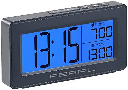 PEARL Digitaler Reisewecker: Digitaler Reise-Wecker mit 2 Weckzeiten, großes, beleuchtetes Display (LCD Wecker)