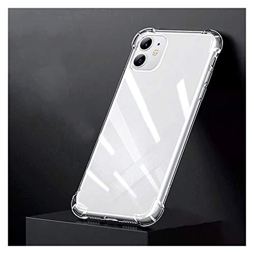 Glqwe Funda de teléfono TPU Suave a Prueba de Golpes para iPhone 12 Mini Pro MAX 6 7 8 11 S Plus X S XR MAX Transparente Transparent Shell (Color : Clear, Material : For iPhone XR)