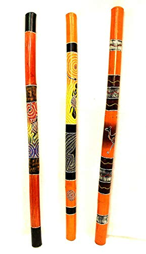 """BAMBOO DIDGERIDOO AUSTRALIAN MUSICAL INSTRUMENT HAND PAINTED GIFT ANTI SNOR. This is a lightweight didgeridoo handmade from bamboo and hand painted ( dots art paint), well recommended for beginners. Has a nice sound. Size: 39"""" L x 2"""" W. The price is ..."""