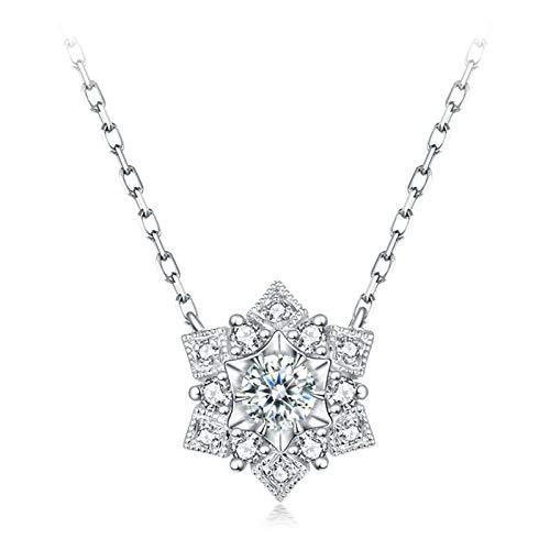 Daesar Collar Oro Blanco 18 kilates,Collares Mujer de Plata Copo de Nieve Diamante Blanco 0.1ct