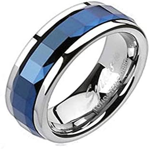 Tungsten Carbide Blue IP Multi Faceted Square Cut Spinner Ring R396 12 product image