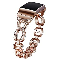 Rose Gold Crystal Diamond Rhinestone Metal Wristband Strap for Fitbit Charge 3
