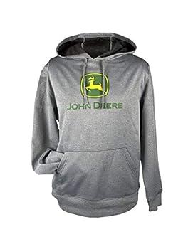 John Deere Men s Classic Logo Poly Fleece Pullover Hoodie-Oxford-XL