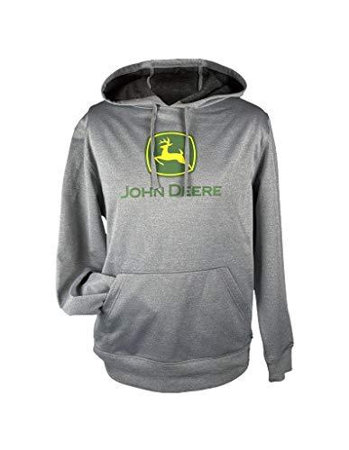 John Deere Herren Classic Logo Grau Fleece Pullover Hoodie - Schwarz - X-Large
