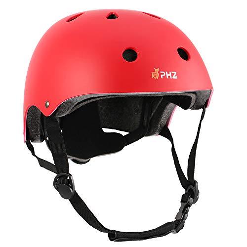 PHZ. Kids Bike Helmet Toddler Helmet CPSC Certified Adjustable Child Helmet for 3-8 Years Boy Girl Multi-Sport Cycling Skateboard Skating Scooter Red