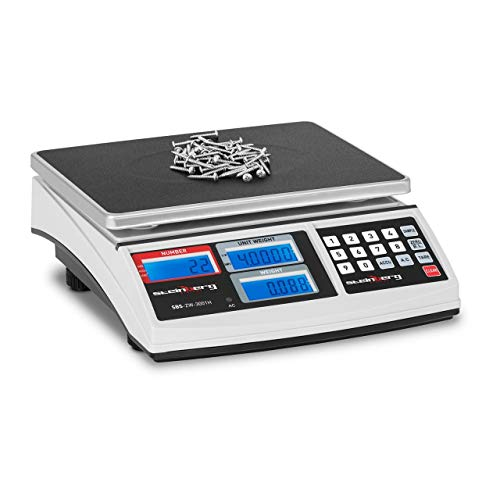 Steinberg Systems SBS-ZW-3001H Balanza Cuentapiezas Bascula DigitalBalanza Comercial(30 kg / 1 g, Plataforma 26 x 21 cm, LCD, incl. Batería y Cargador) Blanca