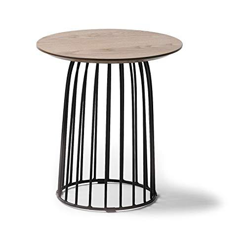 Générique salontafel, rond, 40 cm, eikenhout en metalen poten, zwart emmeline – L 40 x B 40 x H 45 cm