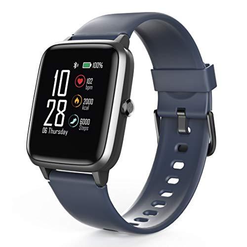 Hama Smartwatch 4900, wasserdicht (Fitnesstracker für Herzfrequenz/Kalorien, Sportuhr mit Schrittzähler, Schlafmonitor, Musiksteuerung, Fitness Armband Damen/Herren, 6 Tage Akkulaufzeit) Blau