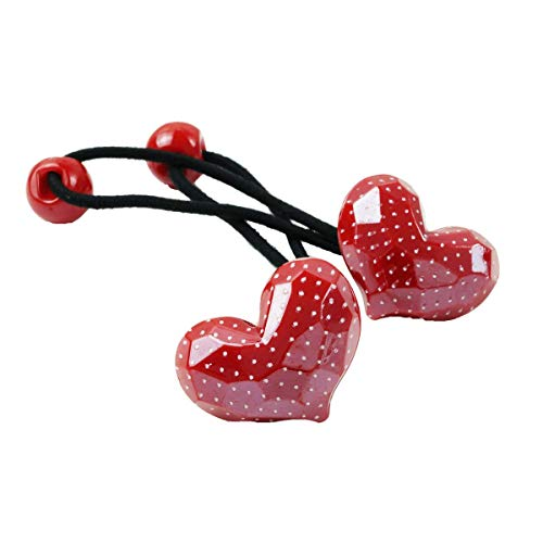 [ATK21] (2点セット) ハート Heart cute ドット 水玉 子供用ヘアゴム ツインテール ヘアポニー 卒業式 入学式 発表会 七五三 結婚式 パーティ 子供 キッズ 女の子 ヘアアクセサリー (Red)