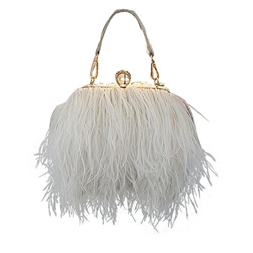 Zakia Real Natural Ostrich Feather Evening Clutch Shoulder Bag Party Bag (white)