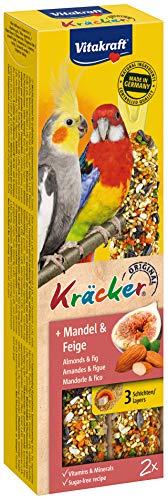 Vitakraft Kräcker, Knabberstangen für Großsittiche mit Mandel und Feige (1 x 2 Stück), 180g