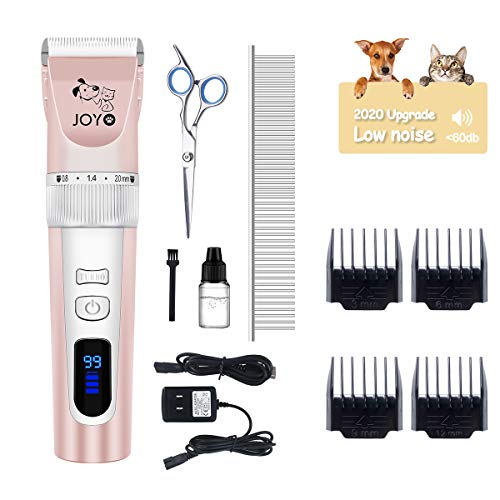 JOYO Dog Clippers, Dog Grooming Clippers Low Noise Professional Dog Clippers for Grooming 2-Speed Rechargeable Pet Clipper Kit with LED Light, Heavy Duty Dog Grooming Kit for Dogs Cats Pets