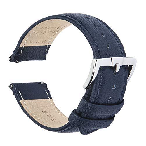 Correas de Reloj - Correas de Reloj de Cuero Genuino de Grano Superior de Liberación Rápida 18mm 20mm 22mm para Hombres y Mujeres - Correas de Reloj de Repuesto de Lujo Suaves y Duraderas