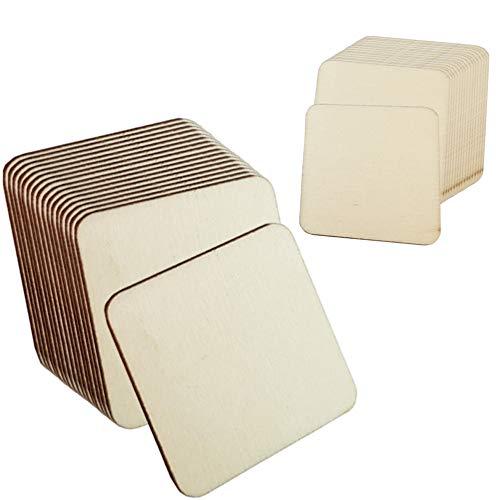 Sweieoni Discos Cuadrados Rebanadas 150 piezas madera en Blanco sin Terminar Cuadrados Rebanadas Cuadrados 2 Tamaños Piezas de Madera para Manualidades Posavasos Pintura (3 cm, 5 cm)