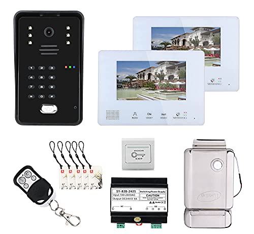 Sistema de intercomunicación con videoportero RFID de 2 líneas y 7 Pulgadas con Cerradura de Puerta electrónica, Sistema de Control de Acceso doméstico con 2 Pantallas