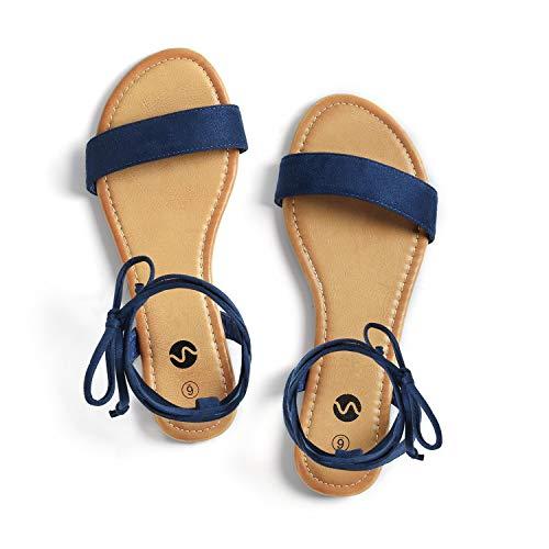 Rekayla Open Toe Tie Up Ankle Wrap Flat Sandals for Women Navy Blue 095
