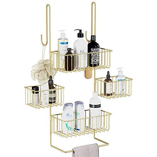 LYGACX Hänge Badezimmerregale,Badezimmer Duschregal, Combo Organizer Korb für Shampoo,Multifunktional Duschablage Ohne Bohren,Gold