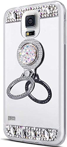 King phone Glitter Mirror Back Case for Samsung Galaxy S6 Edge Crystal Sparkly Diamond Flower Rhinestone Soft TPU Rubber Bumper Cases Bling Protective Phone Cover - Silver 1