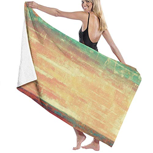 Microfiber Soft Large Shower Bath Towels Beach Towels Bath Washcloths Bathroom TowelsAbstract Old School Patterns Yellow Beige Brown Red Orange Blue Green Retro