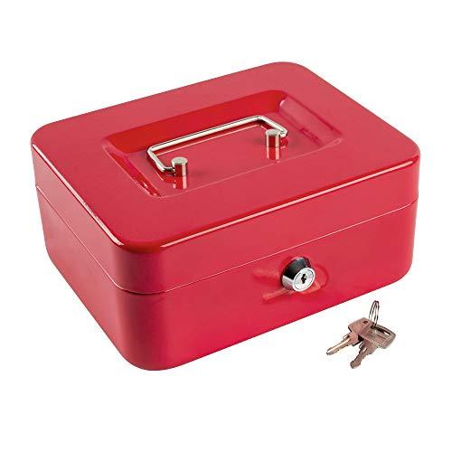 Caja de dinero con bandeja de bloqueo, caja de dinero de metal portátil con doble capa y 2 llaves para seguridad, caja de bloqueo, 19 x 17 x 9 cm, color rojo