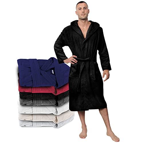 Szlafrok męski 100% bawełna certyfikat Öko-Tex - najwyższej jakości szlafrok męski chłonny ręcznik z kapturem, 2 kieszenie, pasek