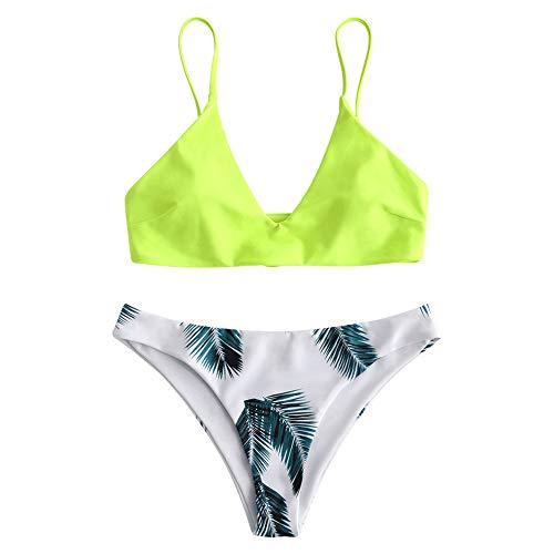 ZAFUL Women's Swimsuit Leaf Print Padded Bathing Suits Adjustable Straps Bikini Set (M, Green Yellow)