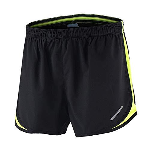 YYDM Men 2 In1 Laufhose - Physical Training Fitness Sport Shorts/Marathon Basketball Sportswear/Reißverschluss-Tasche Quick-Dry Sport Shorts, Für Outdoor-Übung,Gelb,S