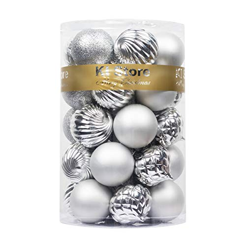 "KI Store 34ct Christmas Ball Ornaments Shatterproof Christmas Decorations Tree Balls for Holiday Wedding Party Decoration, Tree Ornaments Hooks included 2.36"" (60mm Silver)"