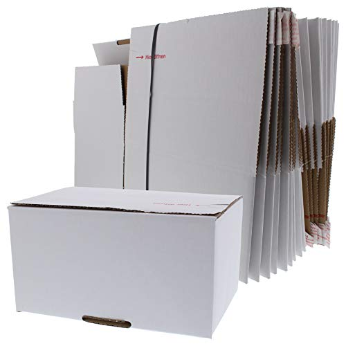 ToniTec Versandkarton FIX Faltkarton Karton für Amazon Prime Größe XS 20 Stück mit Klebe Deckel und Automatikboden für schnellen Versand Weiß (210x150x110cm)