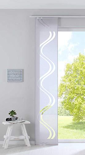 Gardinenbox Flächenvorhang Schiebegardine HxB 245x45 cm Grau Ausbrenner Qualität modern mit Wellen Muster transparent Paneelwagen Beschwerungsstange, 20190418
