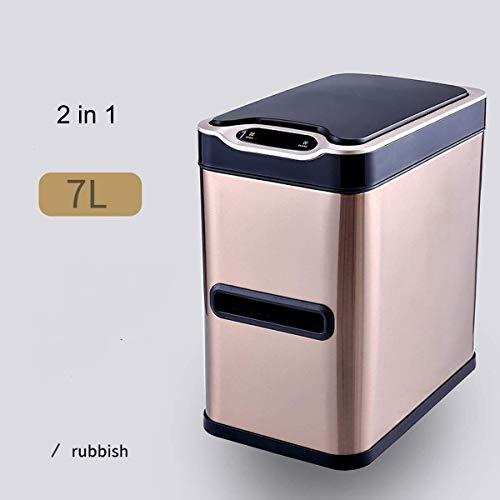 MGEM Vuilnisemmer, automatische sensor, roestvrijstalen sensor, vuilnisemmer, 7 liter, huishoudbadkamer WC met toiletborstel-tray-set met deksel, vuilnisemmer