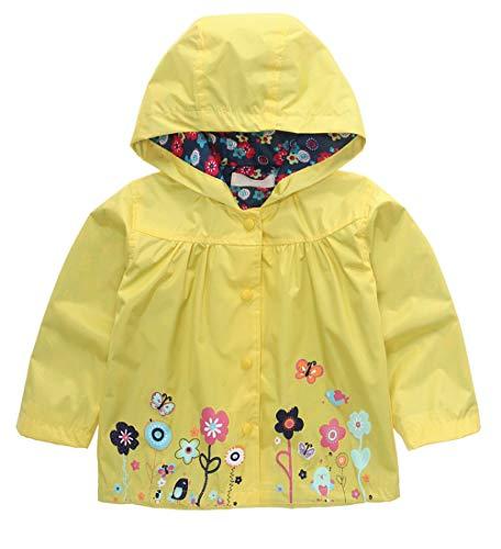 Wamvp Bebé Niña Impermeable con Capucha, Suéter con Capucha Flores Chubasquero para niños Abrigo con Capucha Cárdigan de Abrigo