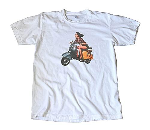 BIAN Vintage On a Vespa Scooter Decal T-Shirt Mod Men's Exclusive T-Shirt