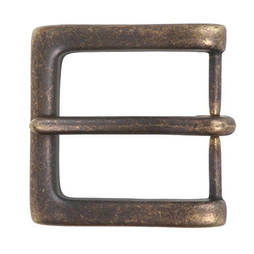 """1 1/2"""" (38 mm) Nickel Free Single Prong Square Belt Buckle, Antique Brass"""
