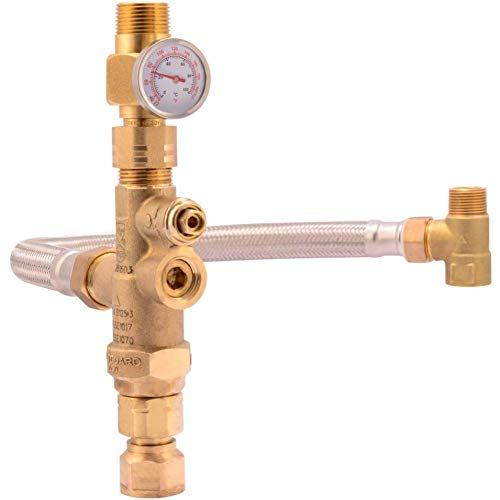 """Cash Acme Water Heater Tank Booster Pro, Thermostatic Mixing Valve 3/4"""" with Temperature Gauge, Braided Hose, Domestic and Commercial Application"""