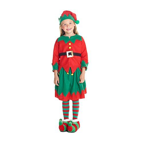 Morph Disfraz de Duende navideño para niña. Conjunto navideño para niños de pequeño ayudante del Taller de Papá Noel, Talla S (3-5 años)