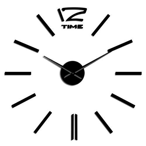 YQMJLF Reloj Pared DIY 3D Grande Efecto de Espejo DIY Kit de Reloj de Arte de Pared Decoración Reloj de Cuarzo Reloj Personalizado con Pilas Reloj de Moda Decoración del hogar Negro