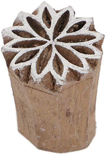 Guru-Shop Indischer Textilstempel, Stoffdruckstempel, Blaudruck Stempel, Holz Model - Ø 2,5 cm Sternblüte 1, Braun, Indische Holzstempel