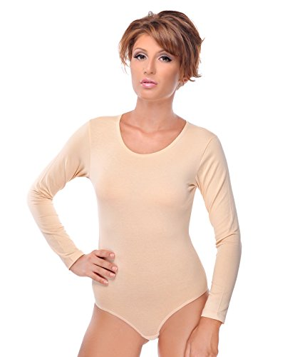 Evoni Damenbody   Overall Bodysuit mit Rundhals für Frauen   Langarm-Body in verschiedenen Farben   Optimale Alternative für Sport & Freizeit   Eleganter Jumpsuit(Medium, Beige)