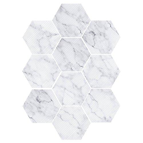 LOVIVER 10 Stück Hexagonal Wandfliesen Fliesen Aufkleber - weiß