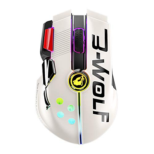 Wired/Wireless Gaming Mouse Up to 12000 DPI,Rechargeable Mouse with 1000mAh Battery,Type-C,Chroma RGB,9 Programmable Buttons+Rapid Fire,Joystick Ultralight Honeycomb Shell for PC Gamer(Mlik Tea White)