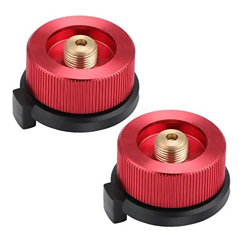 Coolty 2 Stück Camping Gasherd Adapter, Gaskartuschen Adapter für Butan-Kanister zum Einschrauben der Gaskartusche (Rot)