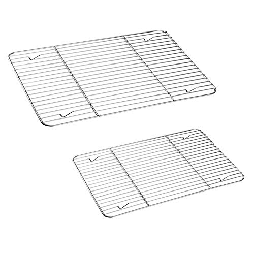 TeamFar Cooling Rack, Baking Roasting Rack Stainless Steel for Baking Sheet Oven Pan, Healthy & Rust Free, Mirror Finish & Dishwasher Safe - Set of 2(15 inch & 11 inch)
