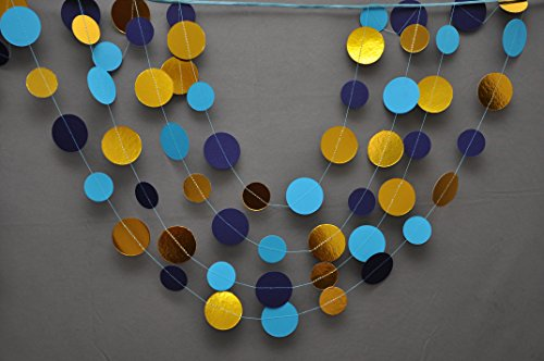Royal blue wedding decor,Navy gold garland,Gold mint garland,Navy blue Mint gold wedding decor, Metallic garland, Shimmer garland, Paper garland by Boston Creative company