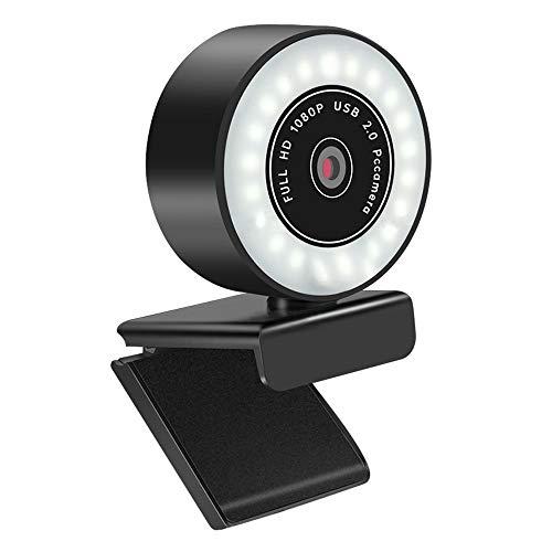 Webcam 1080P Full HD mit Mikrofon und Ringlicht, Web Camera für Game-Streaming Autofokus Streamer PC USB Kamera für Xbox-Gamer, Facebook und YouTube Streamer