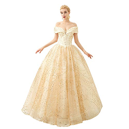 Elinadress Women's Off Shoulder Ball Gowns Lace Applique Quinceanera Dress Tulle Prom Dresses Long
