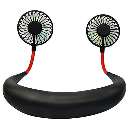 XINGBAO Ventilador deportivo portátil para colgar en el cuello, recargable, para viajes, sala de oficina al aire libre, color negro