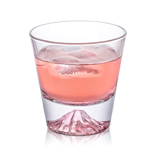 富士山グラス ガラスカップ おみやげ 耐熱 ギフト おしゃれ 255ml お茶 ジュース ビール ワイングラス (ピンク)